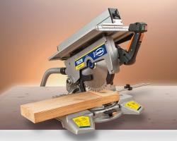 Большая опорная поверхность и глубина пропила 160 х 95 мм или 200 х 45 мм (при использовании подложки) в положении стола головы пилы 0°